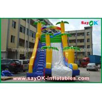 Quality Funny / Safety PVC Tarpaulin Inflatable Bouncer Slide Yellow / Blue Color For Playing for sale