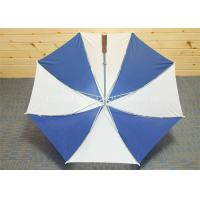 Quality Huge Blue And White Golf Umbrella Wooden Handle , Long Shaft Golf Umbrella for sale
