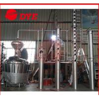 Quality 200L - 5000L Red Copper Alcohol Distiller , Whiskey Distilling Equipment for sale