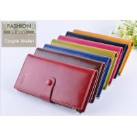 Quality Men Oil Wax Leather Clutch Wallet Three Fold Long Type With Card ID Holder for sale