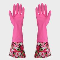 Quality Latex coated safety Elbow Length Latex Gloves With Fish scale grip for sale
