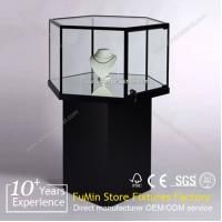 Quality Mordern Titanium Alloy Glass Display Showcase,Glass Jewelry Display Cabinet for sale