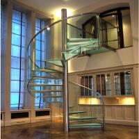 Quality Modern 2018 Business Home use Glass stainless steel railing Spiral Staircase for sale