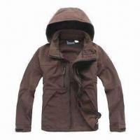 Quality Men's Soft Shell Jacket with Adjustable and Detachable Hood for sale