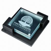 Quality Glass Coaster with Customized Logo, (Cork Coasters Also Available) for sale