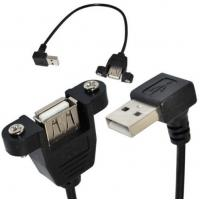 Quality 25cm USB 2.0 A female panel mount to USB A male Down angle plug extension cable for sale