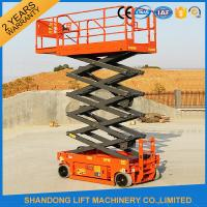 China Rough Terrain Scissor Lift , Hydraulic / Electric Motor Lift Drive Mobile Scissor Lift Trolley on sale