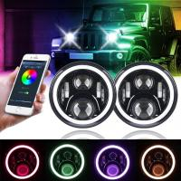Quality 7 Inch Round Halo Car Lights For Jeep Wrangler Bluetooth Phone Control for sale