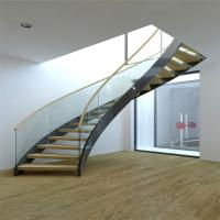 Quality Modern Design Interior curved staircase with tempered glass railing for sale