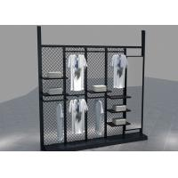 Quality Environmental Metal Material Metal Black Clothing Rack For Garment Mall Displaying for sale