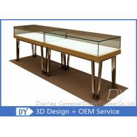 Quality Modern Gold Stain Steel Commercial Jewelry Display Cases With Led for sale