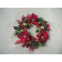 Quality Red Fabric / Plastic Front Door Artificial Decorative Flowers for Christmas Garlands for sale