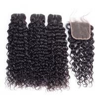 China No Chemical Water Wave Bundles With Closure 100% Remy Indian Human Hair Extensions on sale