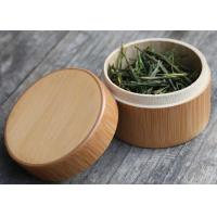 Round Birch Bark Balsa Box Natural Wood Color , Wooden Tea Bag Gift Box