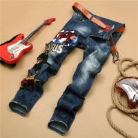 Quality Gothic Motor Biker Mens Tapered Jeans , Slim Punk Tattoo Rock And Roll Jeans for sale