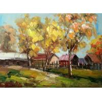 Quality crystal painting golden road maple tree landscape for sale