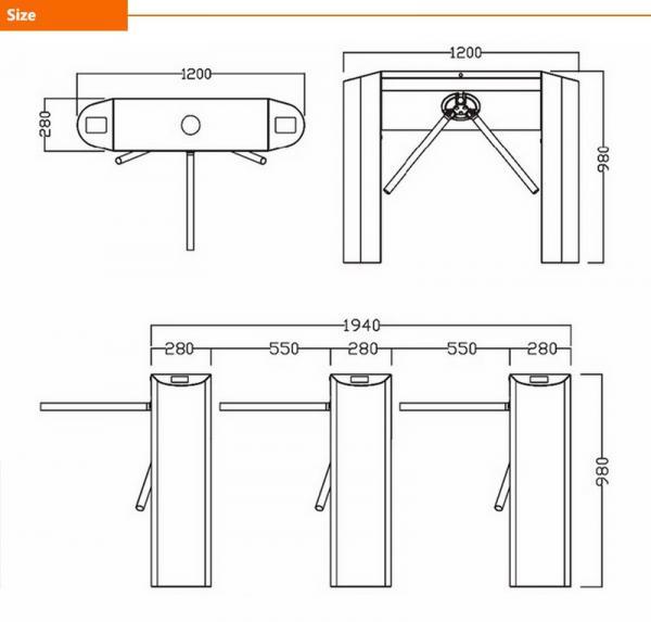 304 Stainless Steel Hot Sale Tripod Turnstile Bridge Turnstile Fingerprint And Card Access Control System