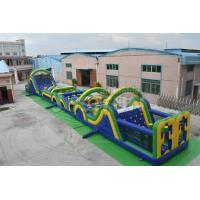 China 100ft outdoor giant adult inflatable obstacle course equipment with slide rentals on sale