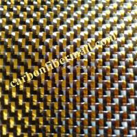 Buy cheap carbon fiber fabric with Gold metallic thread,width1m-1.5m for auto decoration colored 3K plain TORAY carbon fiber mixed from wholesalers