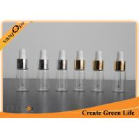China 5ml Clear E-cig Liquid Bottles Pharmaceutical Glass Vial With Gold / Sliver Aluminum Dropper on sale