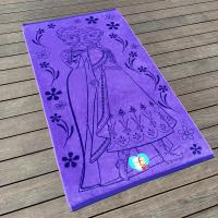 Quality Funky Jacquard Purple Beach Pool Towels Cartoon Printed For Camping for sale