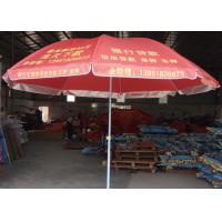 Quality Steel Frame Red Outdoor Beach Umbrella Foldable With White Ink Printing for sale