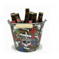 Quality CMYK Tin Ice Bucket Tongs , Galvanized Beer Bucket 5L Volume for sale