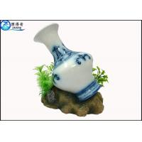 Quality Art Treasures China Vase Fish Aquarium Craft / Fish Tank Decorations With Resin Base for sale
