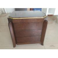 Quality Luxury Hotel Nightstand Studs Edge Plywood Table Top Solid Wood Legs for sale