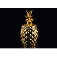 Quality Golden Glazing Pineapple Ceramic Candle Holder With Lid , 100% non toxic for sale