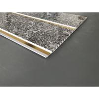 Buy Dark Gray Printing PVC Wall Panels With Golden Lines Recyclable Material at wholesale prices