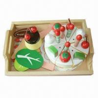 Quality Wooden Toy, Birthday Cake Including Diversiform Foods, Measures 23 x 17 x 8.5cm for sale
