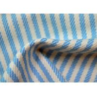 Quality Yarn Dyed Cotton Fabric / Blue And White Striped Fabric Custom Made Color for sale