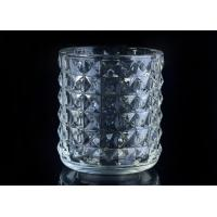 Buy cheap Soda Lime glass cylinder candle holders for decor , Exquisite diamond design from wholesalers