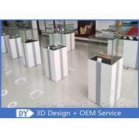 Quality MDF Square Custom Glass Display Cases  With Light / Museum Display Pedestals for sale