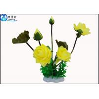 Quality Beautiful Yellow Rose / Lutos Flower Artificial Plastic Ornament Plant Eco Friendly for sale