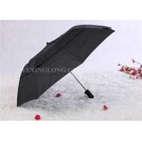 Buy Double Layer Mini Windproof Umbrella , 3 Fold Black Umbrella With Round Hole at wholesale prices