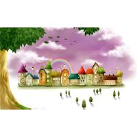 Quality Water Resistant Bamboo Fiber Wall Art Panels Cartoon Rainbow Castle for sale