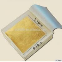 Quality 9.33*9.33 CM 24 K Pure Gold Color Edible Gold Leaf for Attractive  Bakery Decoration for sale