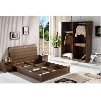 Quality Cheap  style rent Apartment home furniture melamine plate bed 1.2m- 1.5m-1.8 m light walnut color for sale