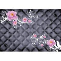 Quality Pink Roses 3D Bamboo Decorative Wall Panels Crystal Surface Environmental Protection for sale