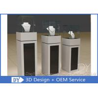 Quality Square Matte Black White Wooden Display Plinth With Small Cabinet for sale