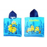 Quality Cute Minions Boys Hooded Beach Towels With 100% Velour Cotton Fabric for sale