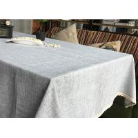 Quality Customized Patchwork Decorative Table Cloths Gray / Ivory Cotton Linen Tablecloths for sale