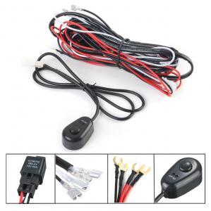 Quality 12V 2.5m LED Light Bar Wiring Harness Kit For Car Black , Red Color for sale