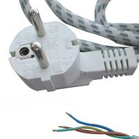 Quality European electric iron power cords, VDE cotton braid power cables with schuko plug for sale
