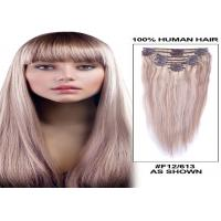 Quality Straight Human Hair Clip On Hair Extensions Tangle Free 120g 8 Pieces / Bundle for sale