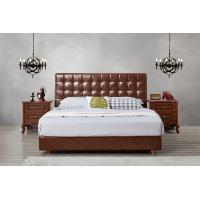 Quality Leather / Fabric Upholstered Headboard Bed for Apartment Bedroom interior fitment by Leisure Furniture with Wooden table for sale