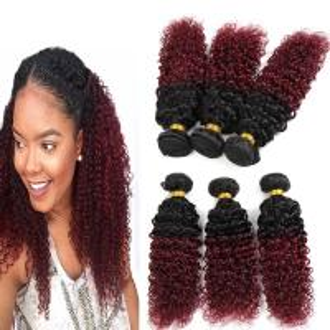 Quality 8A Brazilian Virgin Hair Ombre Human Hair Extensions 1B / 99J Kinky Curly Hair for sale