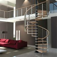 Quality Luxury Wood Tread Stainless Steel Railing Indoor Use Spiral Staircase for sale